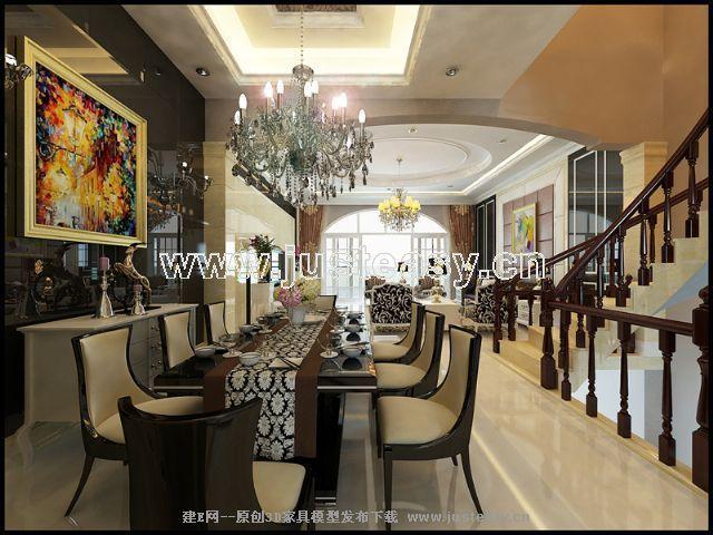 简欧别墅客厅餐厅楼梯过厅3d模型下载[id:58009]