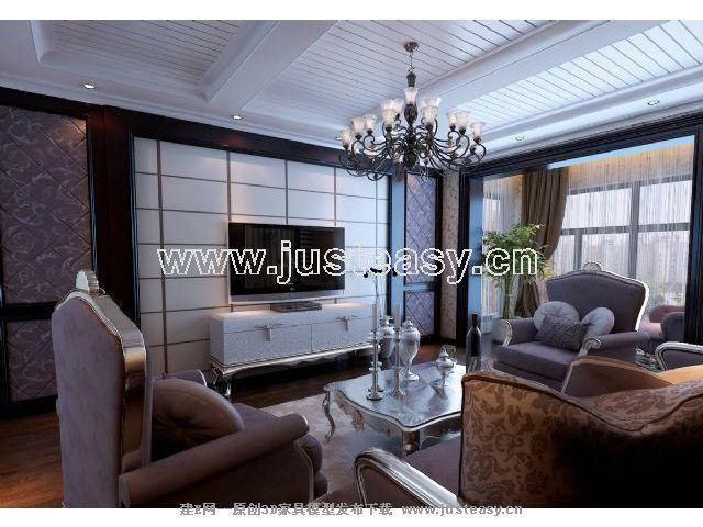 现代欧式新古典客餐厅厨房3d模型下载[id:58324]