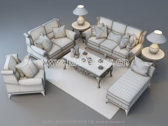 美式欧式沙发组合3d模型下载[id:59102]