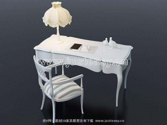 田园书桌椅梳妆台组合3d模型下载[id:59105]