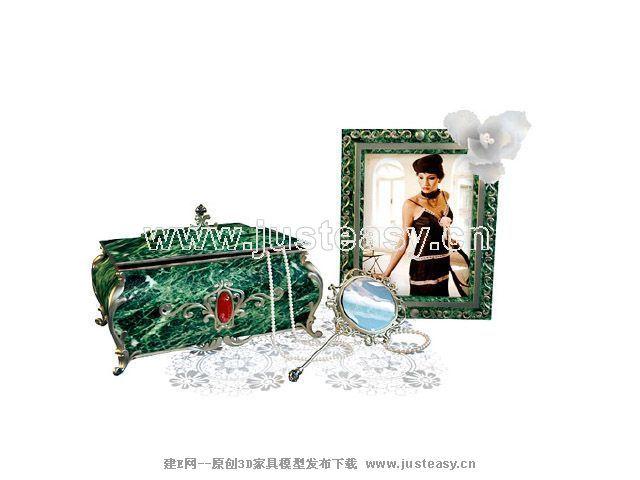 欧式古典首饰盒相框镜子3d模型下载[id:59746]