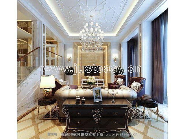 欧式新古典奢华别墅客厅3d模型下载[id:59987]