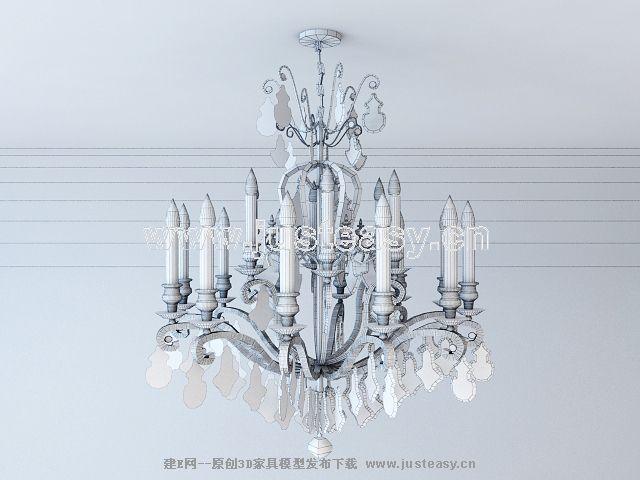 欧式古典水晶吊灯3d模型下载[id:60287]