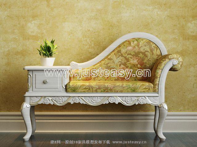 美式欧式田园躺椅贵妃椅3d模型下载[id:62191]