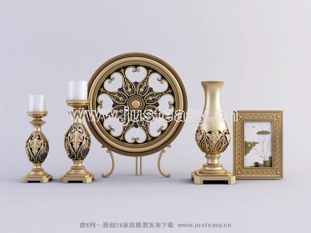 欧式相框烛台装饰品3d模型下载[id:62221]