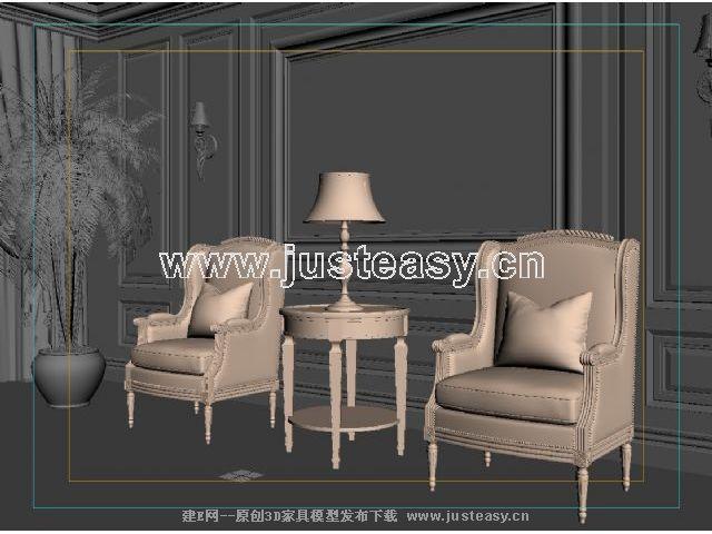欧式沙发椅3d模型下载[id:63020]