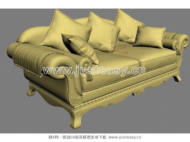 欧式田园沙发组合3d模型下载[id:63022]