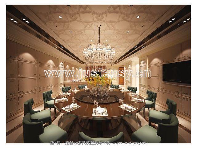 欧式新古典客厅餐厅包间3d模型下载[id:63195]