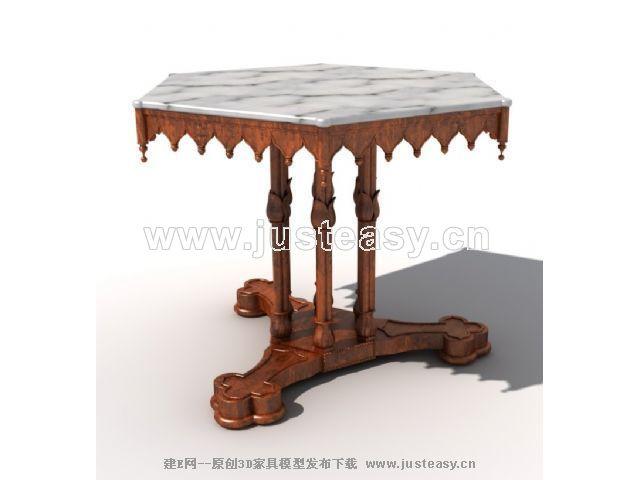 欧式六角桌六边桌3d模型下载[id:63591]