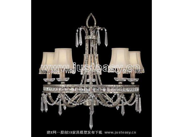 欧式新古典水晶吊灯3d模型下载[id:63964]