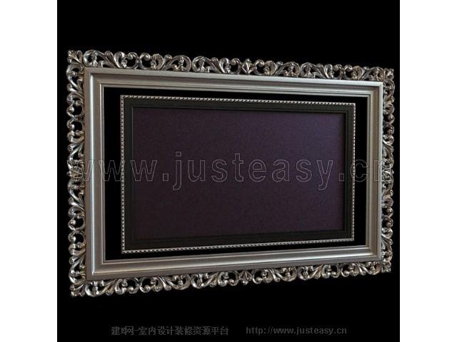 欧式画框电视背景墙3d模型下载[id:75368]