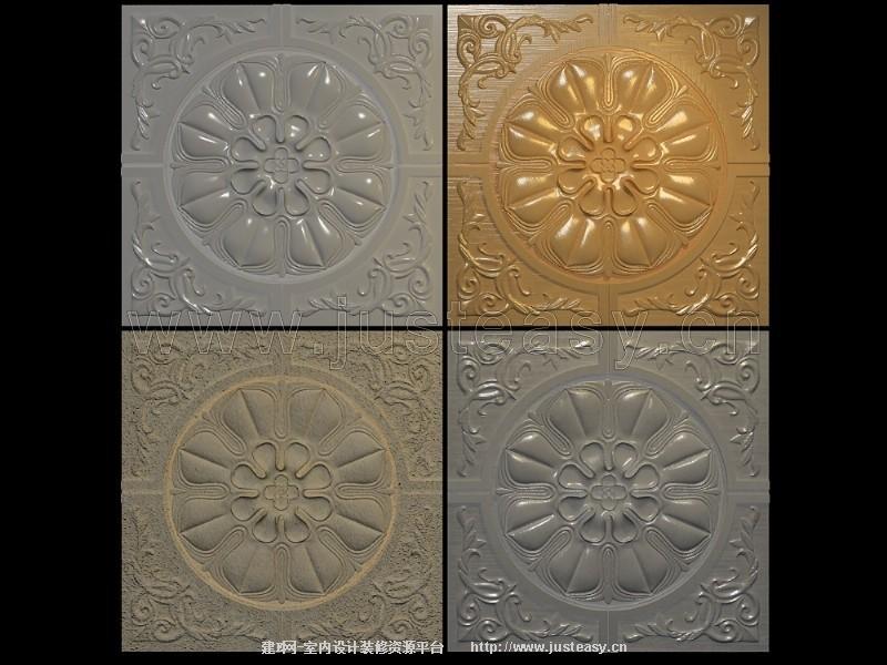 欧式浮雕雕花板3d模型下载[id:75941]