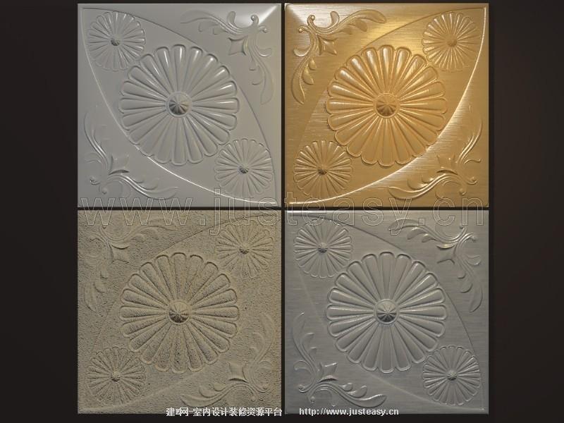 欧式浮雕雕花板3d模型下载[id:75953]