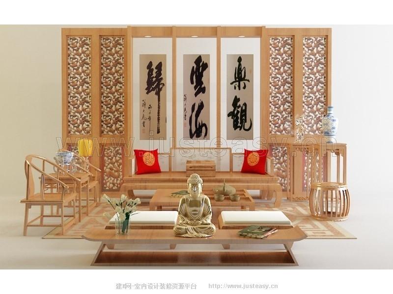 中式客厅沙发椅子组合3d模型下载[id:76127]