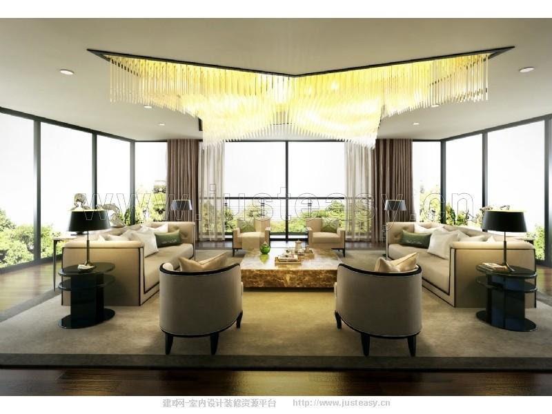 现代别墅客厅沙发组合3d模型下载[id:77191]