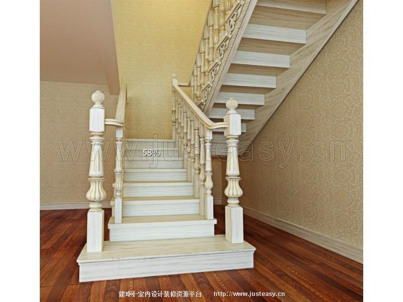 中式实木楼梯效果图; 欧式雕花楼梯