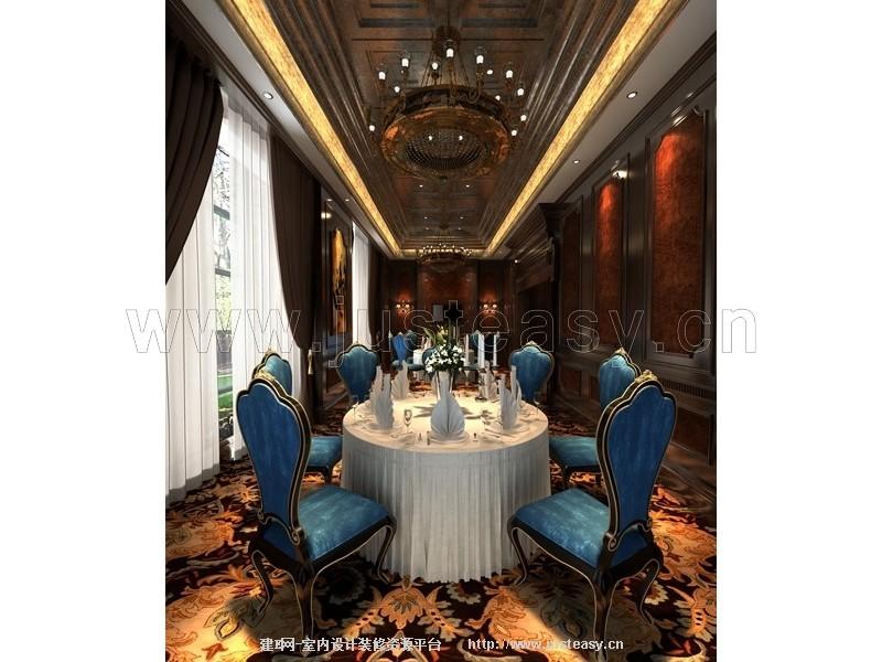 新古典酒店餐厅包间3d模型下载[id:77354]