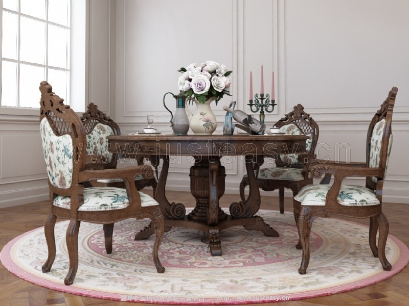 欧式田园餐桌椅3d模型下载[id:77299]