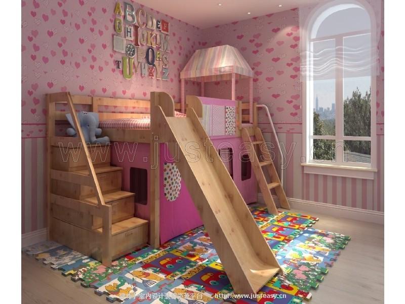 现代儿童床带滑梯3d模型下载[id:77508]