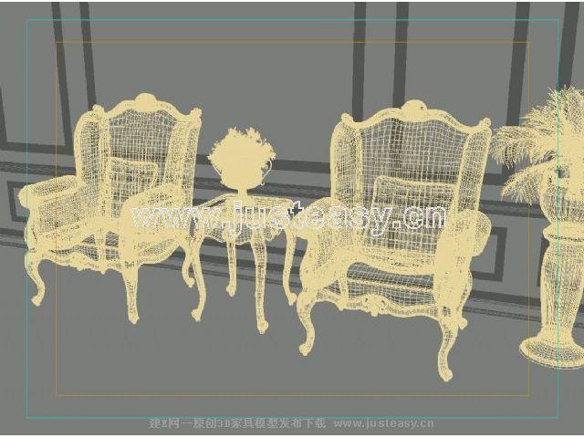 宫廷一号欧式新古典单人椅边几组合3d模型下载[id:]
