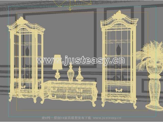 宫廷一号欧式新古典电视柜瓷器柜组合3d模型下载[id