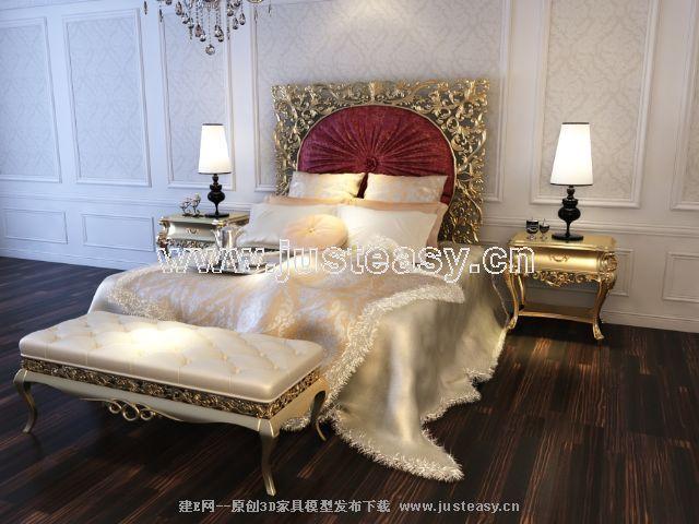 宫廷一号欧式新古典床3d模型