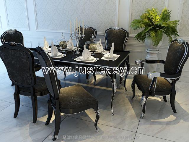 宫廷一号欧式新古典餐桌餐椅组合3d模型下载[id:66