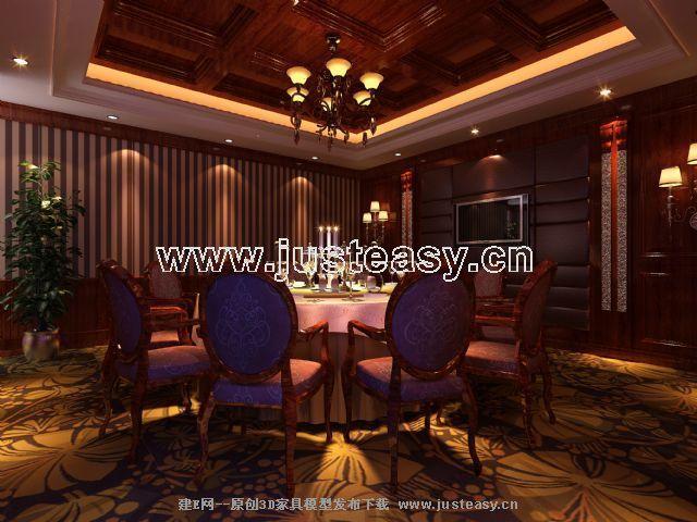 欧式酒店餐厅包间3d模型下载[id:67223]图片