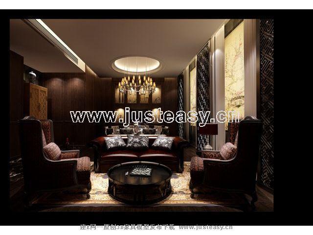 欧式酒店餐厅包间3d模型下载[id:67322]图片