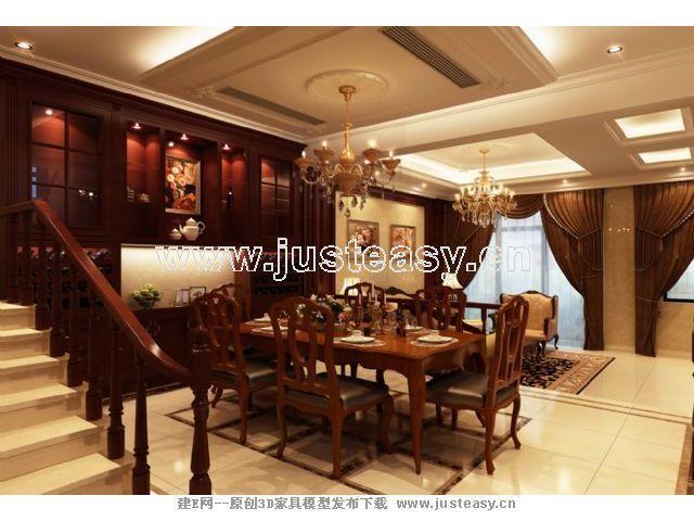 欧式简欧美式别墅客厅餐厅3d模型下载[id:67324]