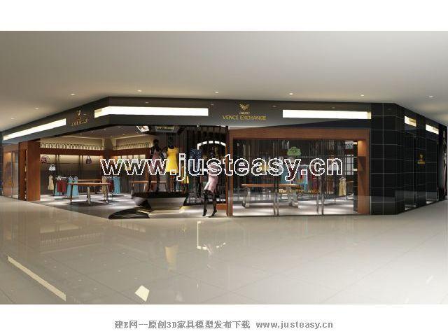 现代服装店专卖店3d模型下载[id:67425]