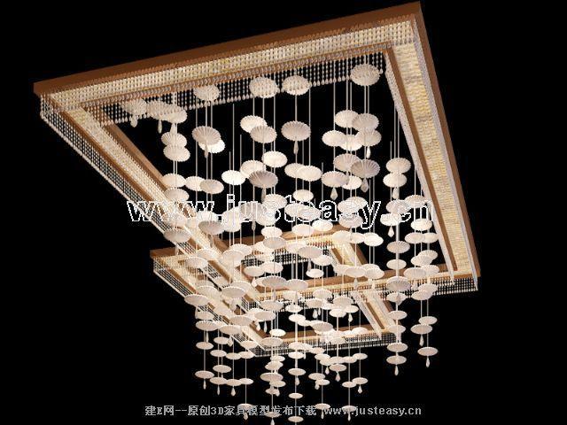 现代水晶吊灯3d模型下载[id:67862]
