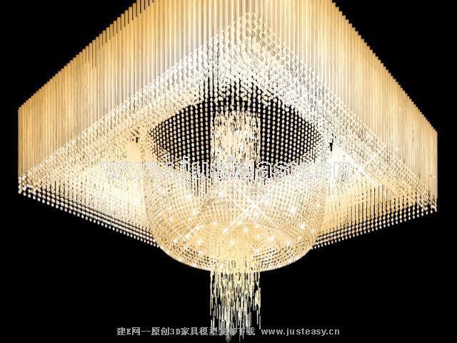 现代水晶吊灯3d模型下载[id:67865]