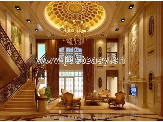 欧式别墅客厅楼梯3d模型下载[id:68171]