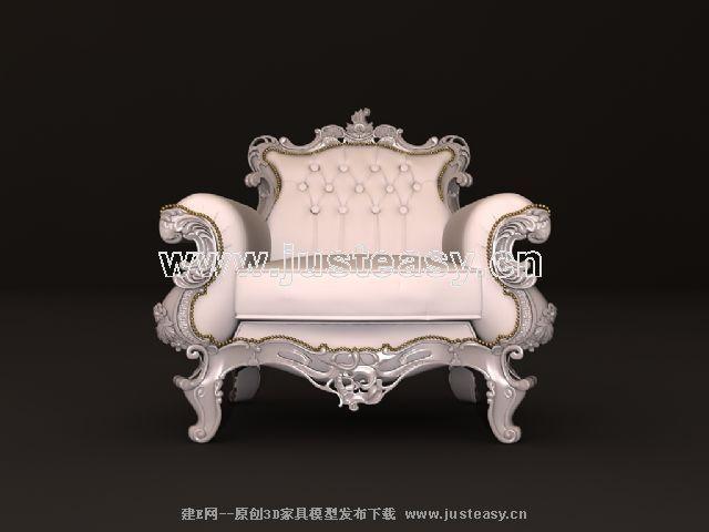 欧式美式新古典豪华雕花单人沙发3d模型下载[id:6
