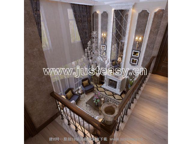 欧式别墅客厅餐厅3d模型下载 室内设计装修资源平台
