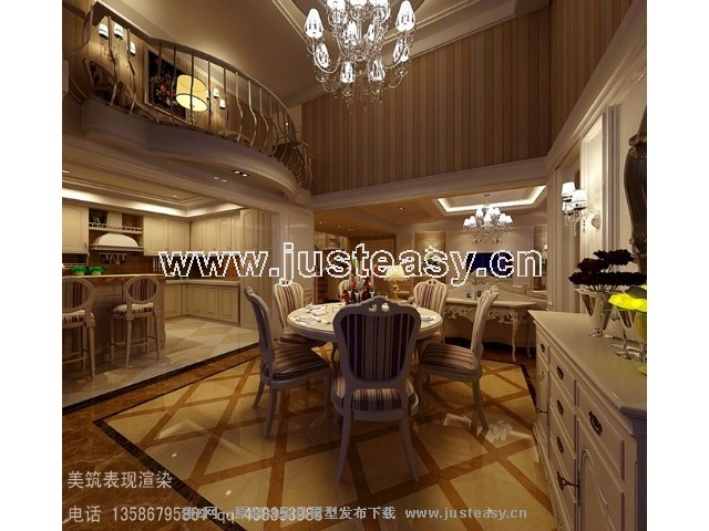 简欧欧式别墅客厅餐厅厨房3d模型下载[id:68963]