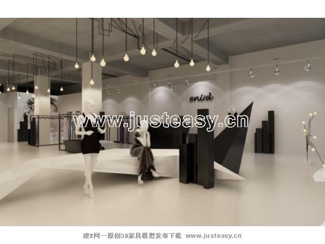 现代服装店3d模型下载[id:69524]