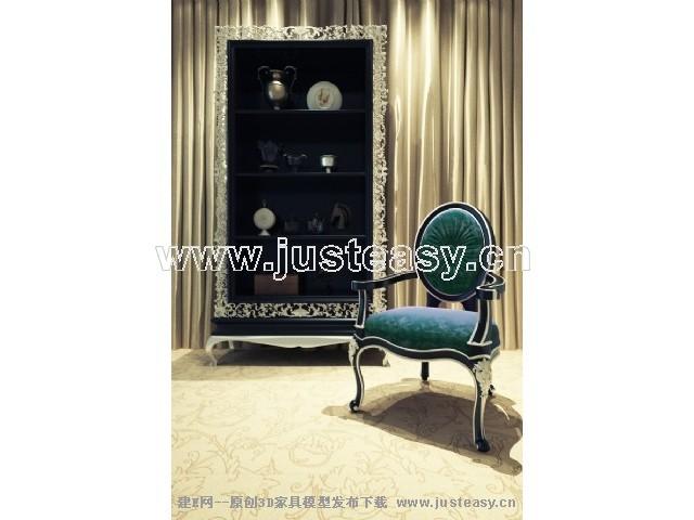 宫廷一号欧式新古典装饰柜组合3d模型下载[id:67722]