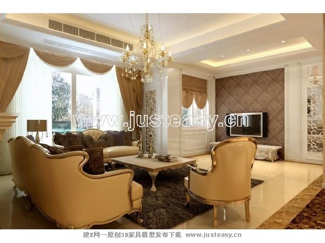 欧式新古典别墅客厅玄关3d模型下载[id:69935]