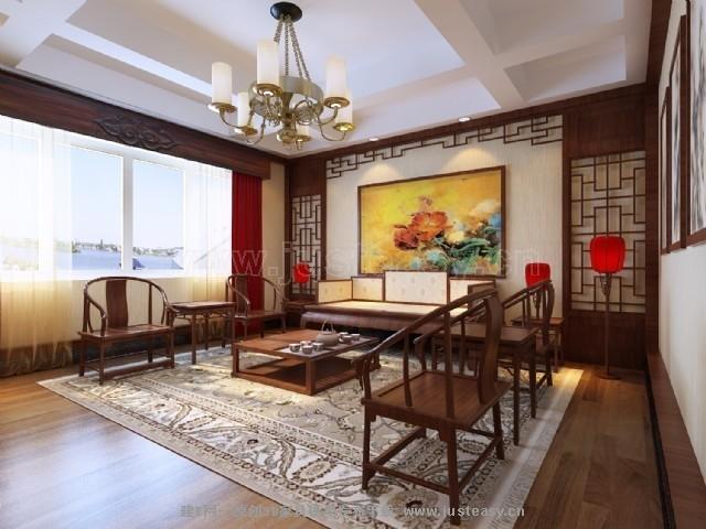现代中式别墅卧室客厅3d模型下载[id:70049]