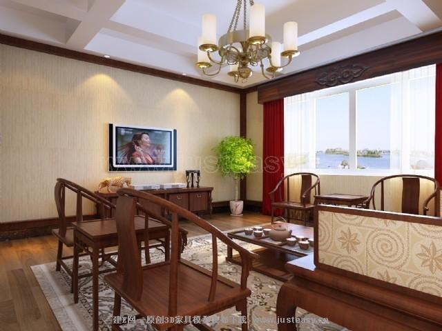 现代中式别墅卧室客厅
