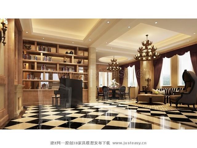 欧式别墅客餐厅3d模型下载[id:70247]