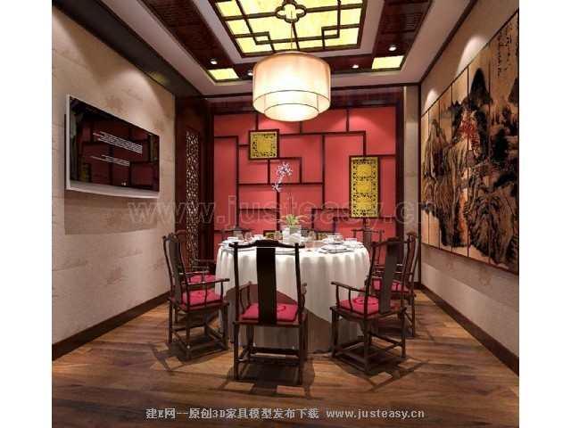 中式餐厅包间[模型id:70355]