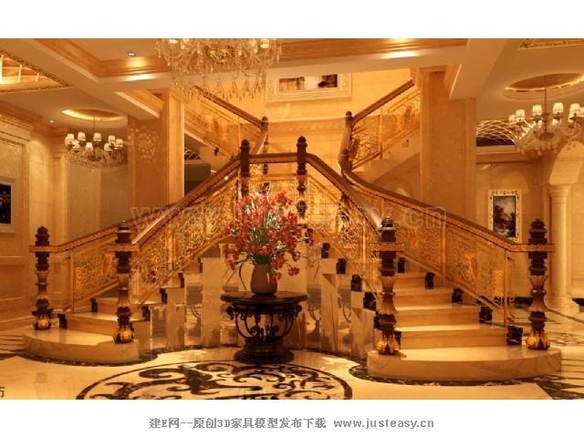 欧式双向弧形楼梯3d模型下载[id:70436]
