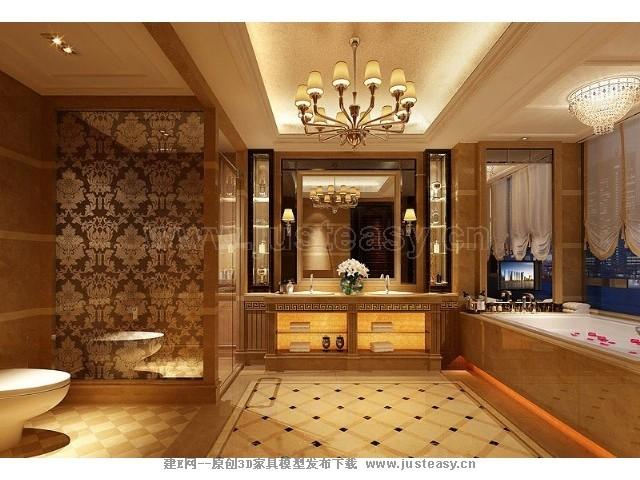 现代欧式别墅卫生间3d模型下载[id:70500]