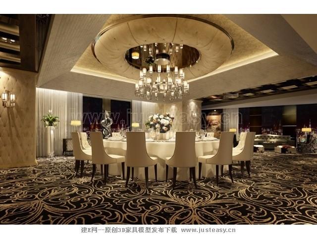 欧式餐厅包间3d模型下载[id:70934]图片