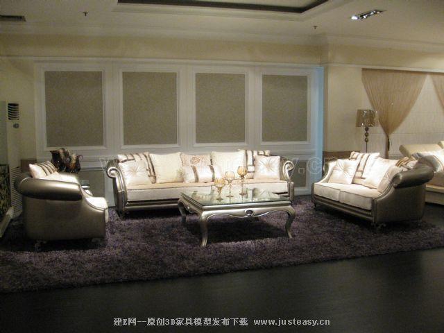 新古典沙发茶几组合3d模型下载[id:78346]