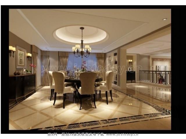 欧式别墅客餐厅3d模型下载[id:71718]