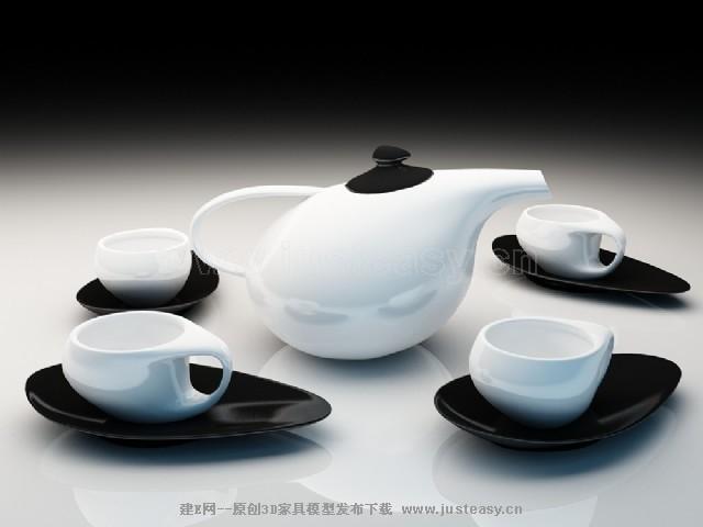 现代茶具3d模型下载[id:72107]